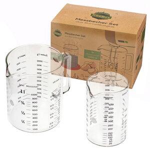 TreeBox Messbecher aus Glas im 2er Set – Hitzebeständig und Mikrowellengeeignet - TreeBox