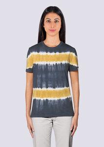 Damen Batik Shirt aus Bio Baumwolle India Look grau gelb - vis wear