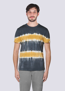 Herren Batik Shirt aus Bio Baumwolle India Look grau gelb - vis wear