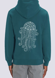 Yoga Qualle, Herren Zipper Hoodie aus Bio Baumwolle Print - vis wear