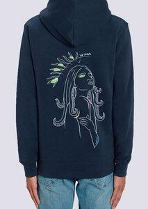 Göttin des Meeres, Herren Zipper Hoodie aus Bio-Baumwolle mit Print - vis wear
