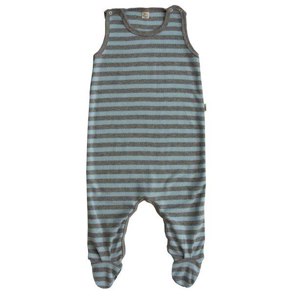 baby strampler mit fu blau grau geringelt bio baumwolle. Black Bedroom Furniture Sets. Home Design Ideas