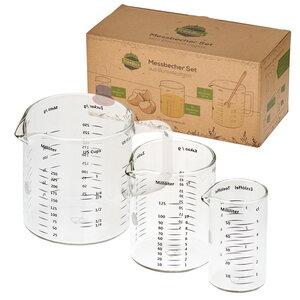 TreeBox Messbecher aus Glas im 3er Set – Hitzebeständig und Mikrowellengeeignet - TreeBox
