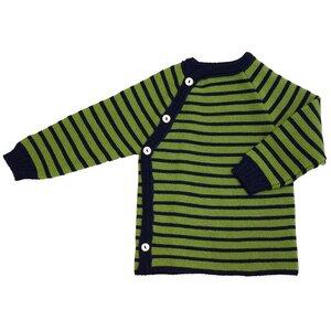 Baby Pullover-Wickelpulli grün/blau Merinowolle - iobio