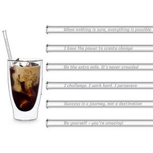 HALM Glasstrohhalme Trinkhalme mit gravierten Sprüchen MOTIVATIONSSPRÜCHE EDITION 6x 20 cm (gerade) + Reinigungsbürste - HALM