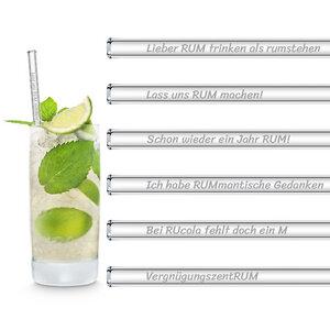 HALM Glasstrohhalme Trinkhalme mit gravierten Sprüchen RUM ZITATE EDITION 6x 20 cm (gerade) + Reinigungsbürste - HALM