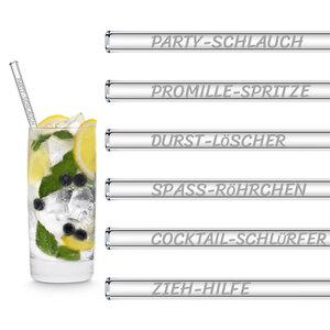 HALM Glasstrohhalme Trinkhalme mit gravierten Sprüchen LUSTIGE STROHHALM NAMEN EDITION 6x 20 cm (gerade) + Reinigungsbürste - HALM