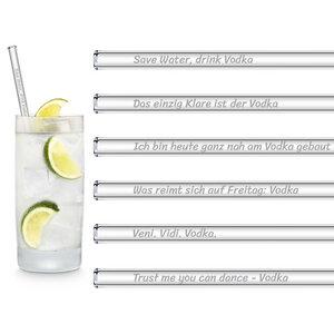 HALM Glasstrohhalme Trinkhalme mit gravierten Sprüchen VODKA EDITION 6x 20 cm (gerade) + Reinigungsbürste - HALM