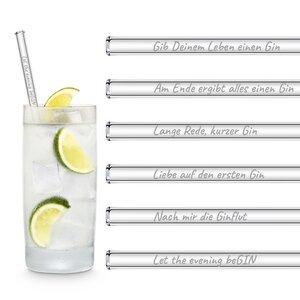 HALM Glasstrohhalme Trinkhalme mit gravierten Ginsprüchen in Deutsch GIN EDITION 6x 20 cm (gerade) + Reinigungsbürste - HALM