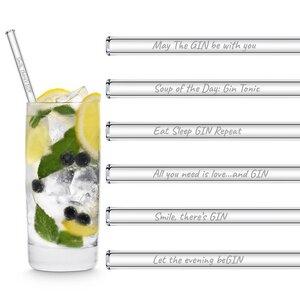 HALM Glasstrohhalme Trinkhalme mit gravierten Ginsprüchen in Englisch GIN EDITION 6x 20 cm (gerade) + Reinigungsbürste - HALM