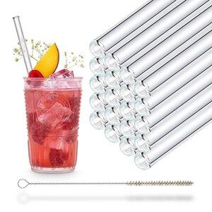 HALM Glasstrohhalme Trinkhalme 20x 20 cm (gerade) PartySet Trinkhalme aus Glas + Reinigungsbürste - HALM