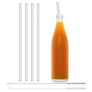 HALM Strohhalm aus Glas Trinkhalm für 0,33 & 0,6 L Flaschen 4x  30 cm + Reinigungsbürste - HALM