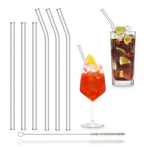HALM Strohhalme aus Glas Trinkhalme 3x 23 cm (gebogen) + 3x 20 cm (gerade) + Reinigungsbürste - HALM