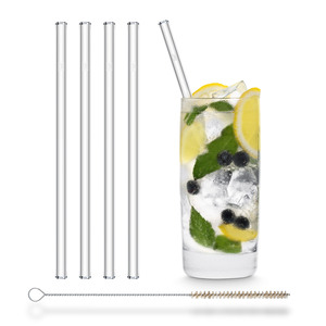 HALM Trinkhalm aus Glas 20 cm 4x Glastrinkhalm + Reinigungsbürste  - HALM