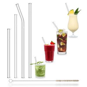 HALM Trinkhalme Glasstrohhalme  Starter Set 4 Stück + Reinigungsbürste - HALM