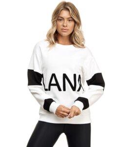 """Unisex Pullover """"Lanasia"""" aus Bio-Baumwolle im Colorblocking Stil mit Schriftzug - LANASIA"""