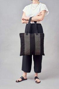 "Shopper Handtasche ""ETELVINA"" in schwarzem Diamanten Muster, handgefertigt in Lateinamerika - Nata Y Limón"
