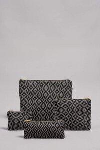 """Taschen Set """"CHICUA"""" in Schwarz, handgefertigt in Lateinamerika, bestehend aus Portemonnaie, Brillen Etui/ Federmappe, Kosmetiktasche, Tablet Tasche - Nata Y Limón"""