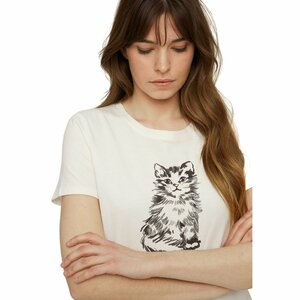 """Damentop """"Kitten Print Tee"""" mit Katzenmotiv - People Tree"""