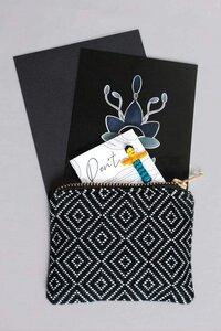 Geschenk-Idee Postkarte, Portemonnaie schwarz & Sorgenpüppchen, handgefertigt in Lateinamerika - Nata Y Limón