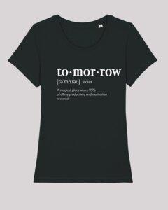 Damen T-Shirt - tomorrow, 100% Bio-Baumwolle, Eco-Print - ethicted