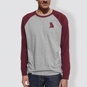 "Herren Langarm-T-Shirt, ""Fuchs"", Heather Grey/Burgundy - little kiwi"