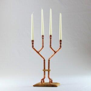 Kerzenständer Filigrano aus Eichenholz und Kupfer - Holzköpfchen