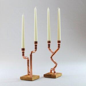 """2 Kerzenständer """"Tanzende Lichter"""" aus Eichenholz und Kupfer - Holzköpfchen"""