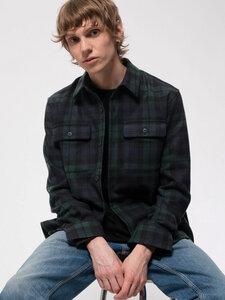 "Kariertes Wollhemd aus recycelter Wolle ""Sten Blackwatch Wool Multi"" - Nudie Jeans"