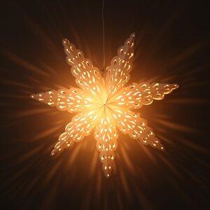 Weihnachtsstern weißes/graues Papier dekorative Pendelleuchte Ø60 cm - inkl. Beleuchtungsset - Tara - MoreThanHip