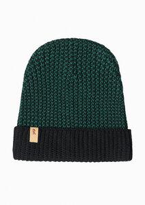 Mütze aus Bio Baumwolle grün/schwarz | Knit Beanie Black #MOULINE - recolution