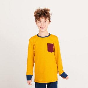 """Buben Langarm-Shirt mit Brusttasche aus Bio-Baumwolle """"Jacquard Senf"""" - Cheeky Apple"""