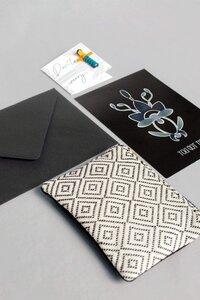 Geschenk-Idee Weihnachten Postkarte, Portemonnaie weiß & Sorgenpüppchen, handgefertigt in Lateinamerika - Nata Y Limón