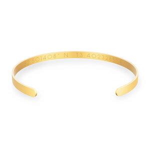 Matter Armreif mit Wunsch-Koordinaten aus Edelstahl vergoldet, inklusive FSC-zertifizierter Geschenkbox - Oh Bracelet Berlin