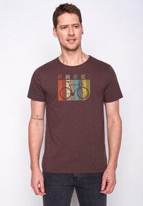 Herren Shirt 100% Biobaumwolle Bike Retro Stripes Spice GOTS Zertifiziert - GreenBomb