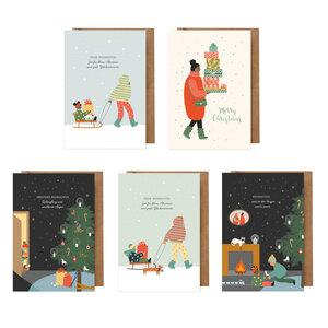 Weihnachtskarten Set: 5 Karten für Kinder und Erwachsene (Diversity, BIPoC, Weihnachten Klappkarten) - dabelino