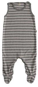 Baby Strampler mit Fuß rosa/grau geringelt Bio Baumwolle - iobioTM (PoPoLiNi®)