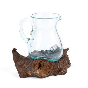 Wasserkrug aus recyceltem Glas und nachhaltigem Wurzelholz - bagus