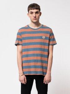 """Gestreiftes Herren T-Shirt aus Biobaumwolle """"Roy Stripe Slub"""" petrol blue - Nudie Jeans"""