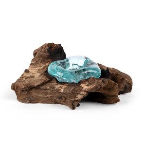 Teelichtschale aus recyceltem Glas und nachhaltigem Holz - bagus