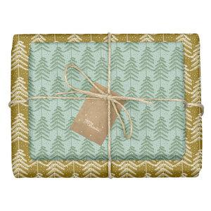"""Geschenkpapier Set: Weihnachten """"Tannenbäume / grün, braun"""": 4x Bögen + 4x Anhänger (modern, edel, für Erwachsene) - dabelino"""