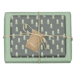 """Geschenkpapier Set: Weihnachten """"Tannenbaum mit Schnee / grün, schwarz"""": 4x Bögen + 4x Anhänger (modern, edel, für Erwachsene) - dabelino"""