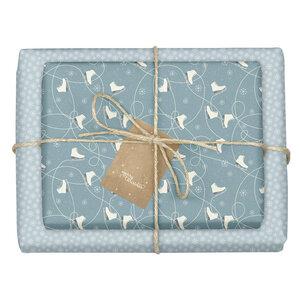 """Geschenkpapier Set: Weihnachten """"Schlittschuhe/ Schneeflocken blau weiß"""": 4x Bögen + 4x Anhänger (für Erwachsene + Kinder) - dabelino"""