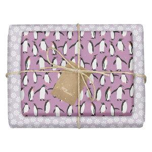 """Geschenkpapier Set: Weihnachten """"Pinguine / Schneeflocken lila weiß"""": 4x Bögen + 4x Anhänger (für Kinder + Erwachsene) - dabelino"""