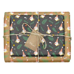 """Geschenkpapier Set: Weihnachten """"Schneemann"""": 4x Bögen + 4x Anhänger (für Kinder, schwarz/Kraftpapier-Look) - dabelino"""