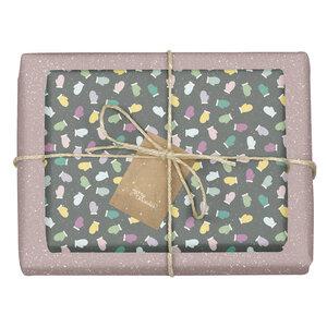 """Geschenkpapier Set: Weihnachten """"Handschuhe/ Pünktchen lila, schwarz-bunt"""": 4x Bögen + 4x Anhänger (für Erwachsene + Kinder) - dabelino"""
