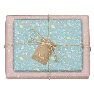 """Geschenkpapier Set: Weihnachten """"Handschuhe/ Pünktchen blau, rosa"""": 4x Bögen + 4x Anhänger (für Erwachsene + Kinder) - dabelino"""