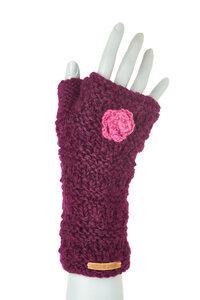 Schurwollhandstulpen mit Blumenmotiv - short'n'pietz