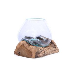 Deko-Schale aus recyceltem Glas und nachhaltigem Wurzelholz - bagus
