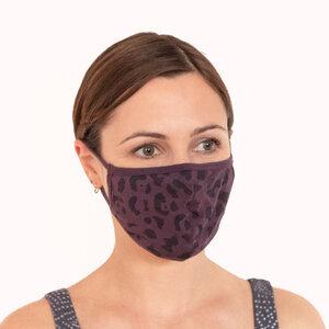 SMILE - Damen/Herren - Face - Mask - Community Maske - Mund - Nasen -Bedeckung aus Biobaumwolle - Leo Print - Lila - Jaya